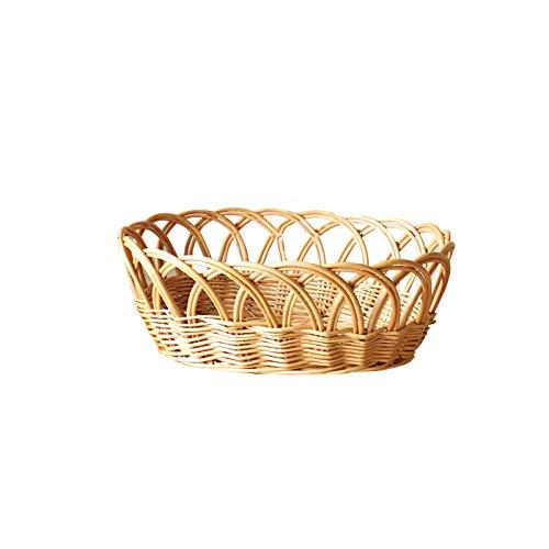 Not application Cesta de pan hecha a mano Bandeja tejida natural estilo retro titular de fruta de mimbre