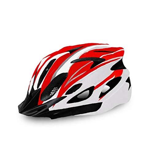 Helm Fahrrad Erwachsener, Fahrradhelm, Verstellbarer Helm für Outdoor-Sport (rot und weiß)