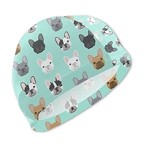 WOAIDY Teens Swim Cap French Bulldog Puppy Swimming Caps for Boys and Girls with Long Short Hair Swim Hat for Any Water Sports
