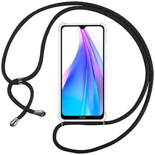 Ingen Funda con Cuerda para Xiaomi Redmi Note 8T - Carcasa Transparente TPU Suave Silicona Case con Colgante - Negro