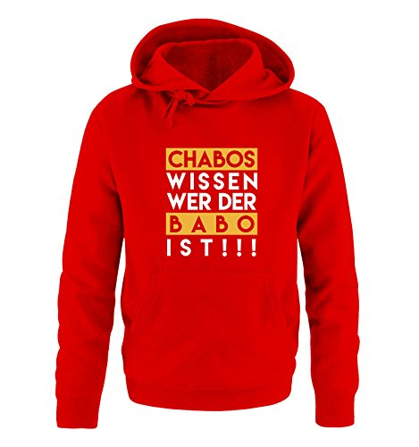 Comedy Shirts - Chabos wissen wer der BABO ist! - Herren Hoodie - Rot/Weiss-Gelb Gr. XL