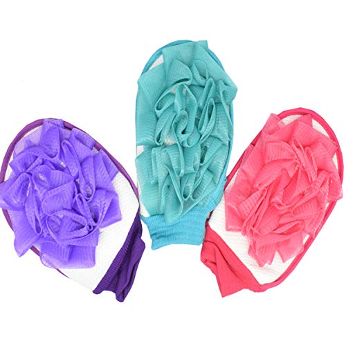 Biluer Peelinghandschuh Körper 3PCS Duschhandschuh Badeschwamm Set Natur Peeling Handschuhe Für Körper Reinigt Porentief Peeling Sauna Dusche Körperpeeling Massage (Rot Blau Lila)