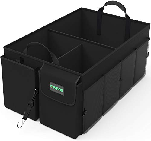 Drive Auto Products Car Cargo Trunk Organizer, Folding Compartments Are Easily Expandable To Suit Any In-vehicle Organization Needs, Secure Tie-down Strap System, Made Of Durable Oxford Fabric (Black)