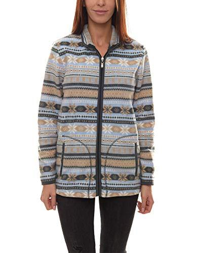 Cheer Fleece-Jacke weiche Übergangs-Jacke für Damen mit Norweger-Muster Freizeit-Jacke Outdoor-Jacke Bunt, Größe:34