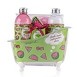 Accentra Badeset Geschenkset für Frauen & Mädchen in dekorativer Deko Badewanne mit Wasser-melone...