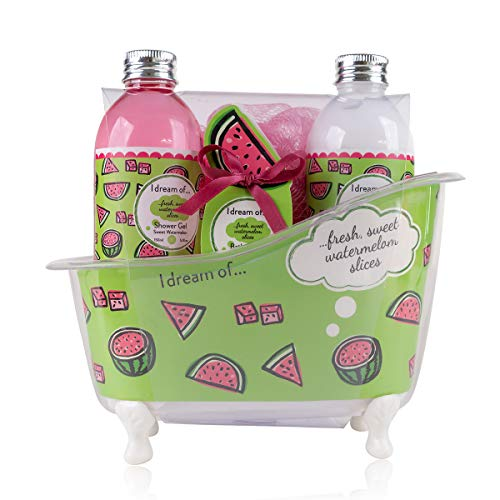 Accentra Badeset Geschenkset für Frauen & Mädchen in dekorativer Deko Badewanne mit Wasser-melone Duft, 4-teiliges Pflegeset zur Haut- & Körperpflege