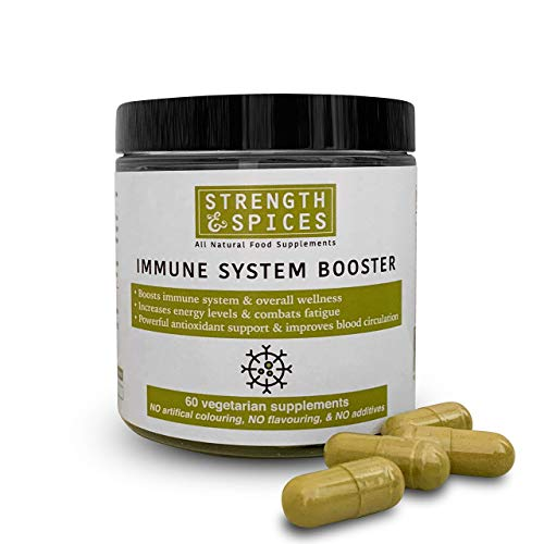 Immune System Booster 100% Natural Supplement for Immune Support – 4 Ingredients - 60 UK Made 1000mg Vegan Capsules