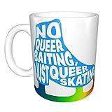 Hdadwy No Queer Baiting - Just Queer Skating (Blue W- Rainbow Blade) Taza de café de cerámica divertida única Taza de té de café de oficina en casa para regalo de festival de novedad