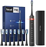 Sonic Electric Toothbrush Rechargeable for Adults with Pressure Sensor, Quieter Whitening Travel Electric Toothbrush with Case, Electronic Toothbrush Powerful Cleaning with Smart Timer, Fairywill P80