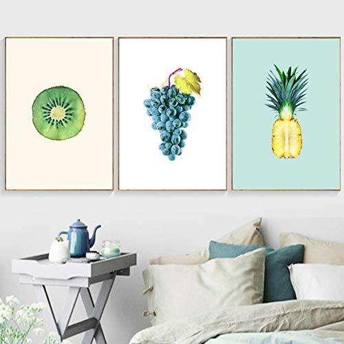 RHBNVR 30 x 40 cm 3 stuks moderne kiwi druiven ananas fruit muurkunst canvas schilderij prints woonkamer decoratie