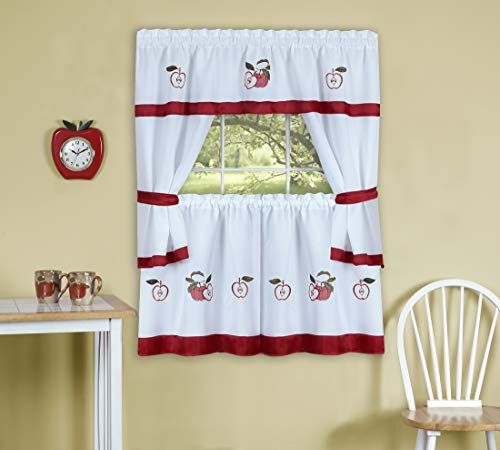 """PowerSellerUSA 5-Piece Embellished Kitchen Curtain Cottage Set, Tier Panels, Swag Valance & Tiebacks, Country House Kitchen Set Cafe Curtain for Kitchen & Living Room, 59"""" Wide by 36"""" Long, Red"""
