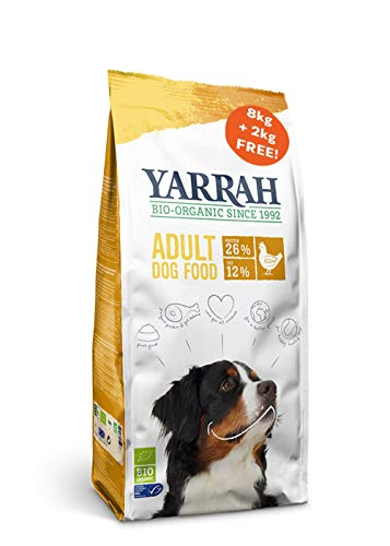 Yarrah Organic Dry Dog Food - 8 + 2kg - For Adult Dogs