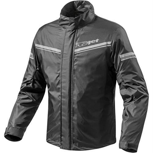 JET Moto giacca da pioggia con custodia per il trasporto (L, Nero)