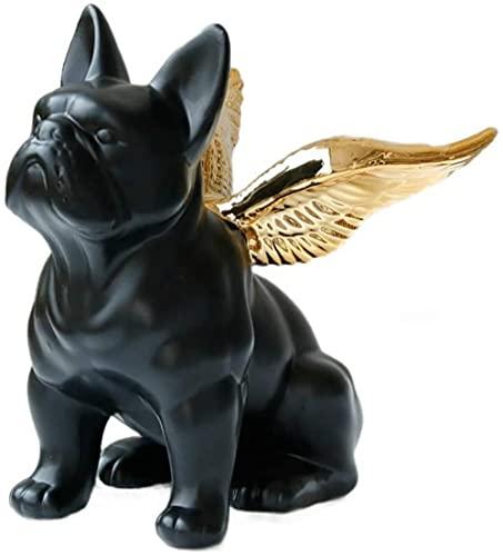 Statua decorativa per la casa, ornamento animale nordico fortunato Scultura di bulldog francese nero con figurine di ali d'oro, statuetta in ceramica, decorazione domestica da collezione