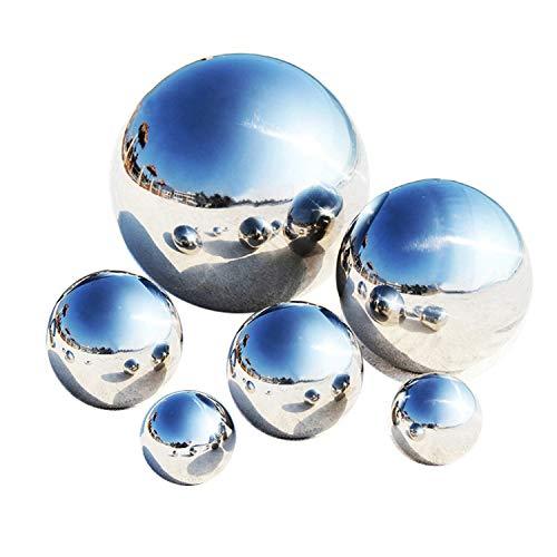 LANUCN Groß Gartenkugeln Rasen Spiegelkugel Silber Edelstahl für Partydekoration Metallgarten-Kugeln (6pcs Mix(15cm x1pc; 10cm x1pc; 8cm x2pcs; 5cm x2pcs))