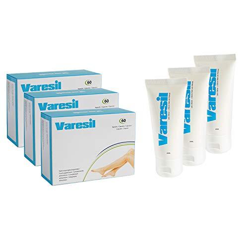 Varices - 3 Varesil Pills + 3 Varesil Cream: Pilules et Crème pour prévenir et soulager les varices