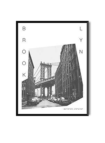 Láminas para Enmarcar para Cuadro de Estilo Fotográfico   Póster de Ciudades y Viajes   Brooklyn   Blanco y Negro … (Sin Marco, 30 x 40 cm)