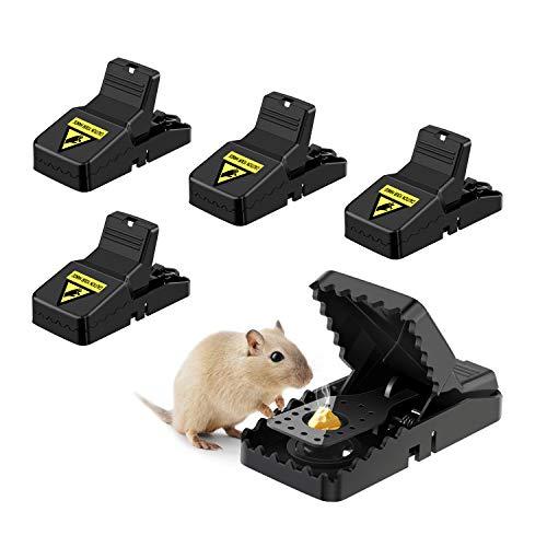 Awroutdoor Trampas para Ratones, 4 PCS Trampas para Rata Reutilizable Trampas para Ratones Alta sensibilidad Respuesta rápida Seguro Efectivo, Fácil de Establecer Control, Seguro, Potente