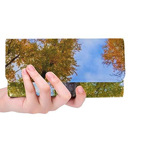 Einzigartige benutzerdefinierte Herbst buche bäume Kronen schöne saisonale Frauen Trifold Brieftasche Lange geldbörse kreditkarteninhaber Fall Handtasche