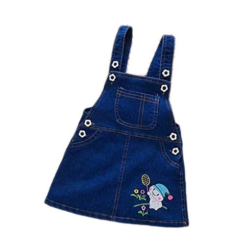 Helen-sky Toddler Girls Suspender Skirt Jeans Dress Summer Baby Girls Sleeveless Overall Outfit Dress Denim (Style A, 18M)