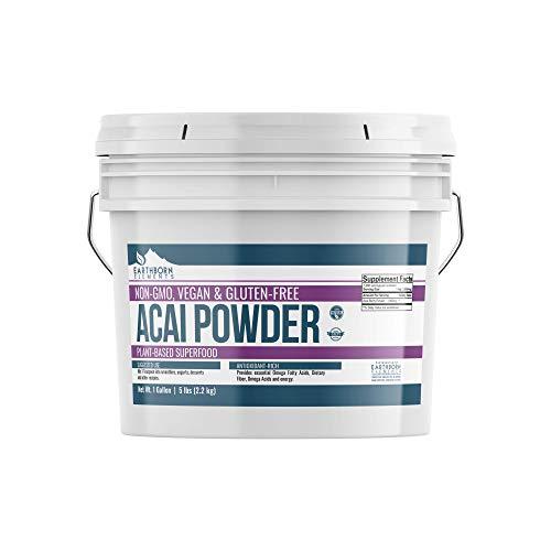 Acai Berry Powder, 1 Gallon Bucket (5 LBS) by Earthborn Elements, Gluten-Free, Antioxidant-Rich Superfood, Energy-Providing, Essential Amino & Omega Fatty Acids, Resealable Bucket