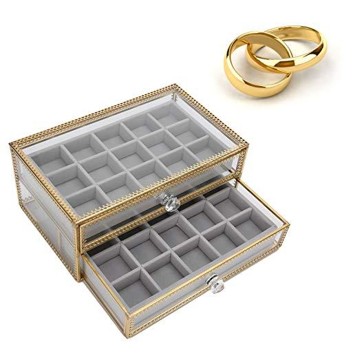 Cajas de Joyería, Caja de Almacenamiento de Uñas Falsas, 30 Compartimentos para Puntas de Uñas, Cajón Tipo Contenedor Caja de Joyería de 2 Capas Caja de Almacenamiento para Decoración de Uñas
