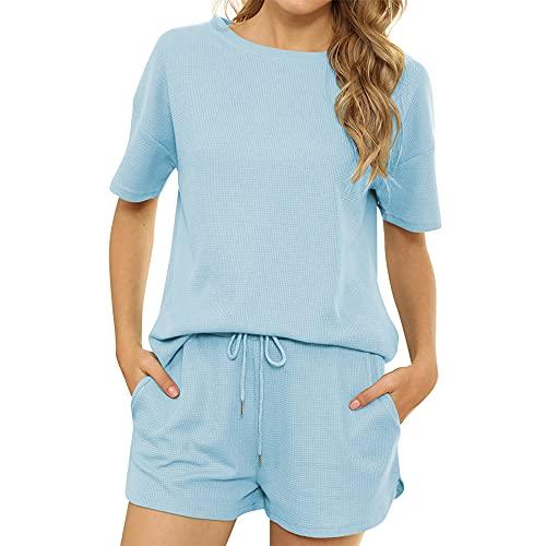 PRJN Conjunto de Pijamas de Ropa Casual para Mujer Pijamas de Manga Corta Pijamas Informales de Cuello Redondo Pijamas de Verano para Mujeres Pijamas de 2 Piezas Conjunto de Pijamas para Mujer