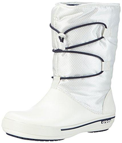 Crocs Crocband II.5 Cinch Boot Women, Damen Warm gefüttert Schneestiefel Halbschaft Stiefel, Weiß (Oyster/Navy 12T), 36-37 EU