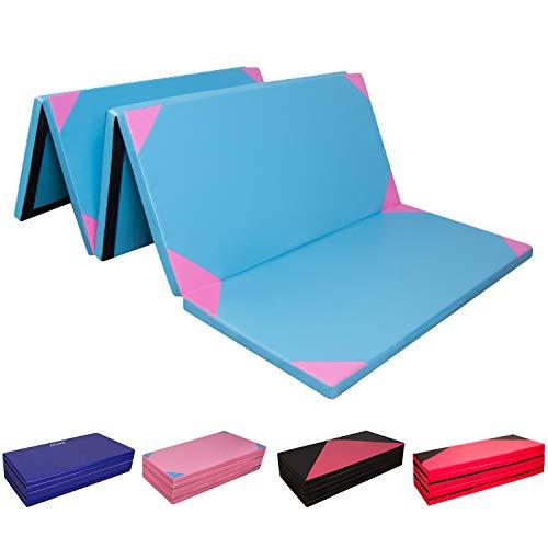 CCLIFE 300x118x5cm Klappbare Weichbodenmatte Turnmatte Fitnessmatte Gymnastikmatte rutschfeste Sportmatte Spielmatte, Farbe:Blau&rosa 300x118x5cm