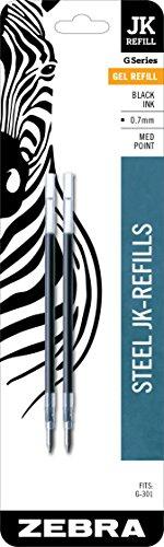 Zebra G-301 Stainless Steel Pen JK-Refill, Medium Point, 0.7mm, Black Ink, 2-Count