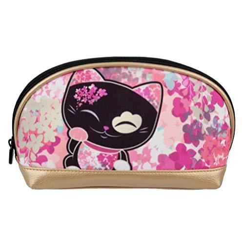 Pochette - trousse à maquillage chat porte bonheur Mani the Lucky Cat noir doré rose