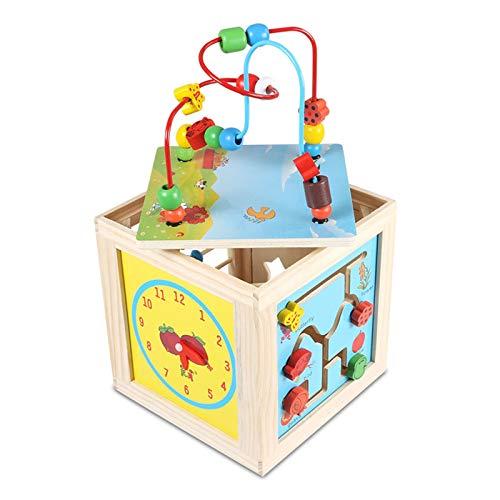 GFBVC Cubo Activo Cuenta multifunción Maze Juguete Actividad de Madera Cubo Actividad Centro Regalo para niños niños niños niñas Juguetes Educativos (Color : Multi-Colored, Size : One Size)