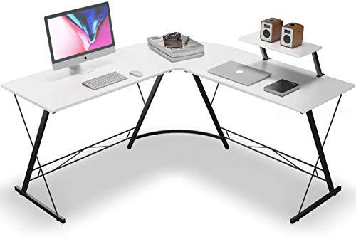 AIYIFU Schreibtisch, L-förmiger Gaming-Schreibtisch, Home-Office-Schreibtisch mit Runder Computer-Schreibtisch-Schreibtisch-Workstation,White