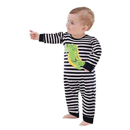 Recién Nacido Bebé Ropa Pijama de Invierno Peleles Mamelucocon Mangas LargasCálido Monos para Bebé Niños Onesies Raya Ropa EnteraConjunto de Traje con Dibujos Animadosde Algodón6-36meses