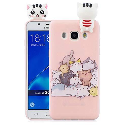 Samsung Galaxy J7 2016 Custodia, Dyluck Cover per Samsung J7 2016 in Silicone Morbido 3D Case Kawaii di TPU Sottile Custodia per Samsung J7 2016 Smartphone Anti-Urto Bumper,Gattino