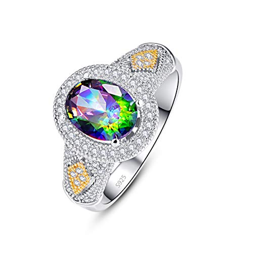 Empsoul 925 Sterling Silver Women's Created Oval Cut Mystic Rainbow Topaz Pave White & Yellow...