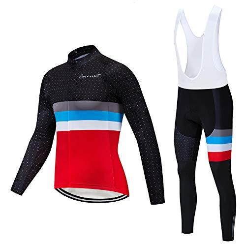 Coconut Ropamo Men's Cycling Clothing Sets Long Sleeve Cycling Jersey Sets Road Bike Clothing 4D Padded Cycling Bib Pants (3012, Large)