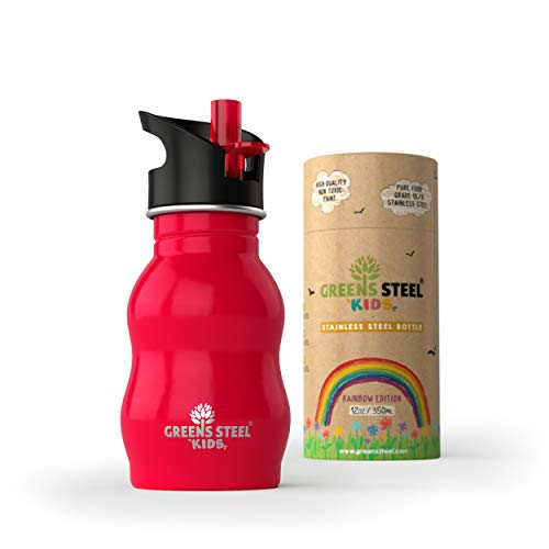 Greens Steel Botella de Agua de niño - 350ml Botella a Prue