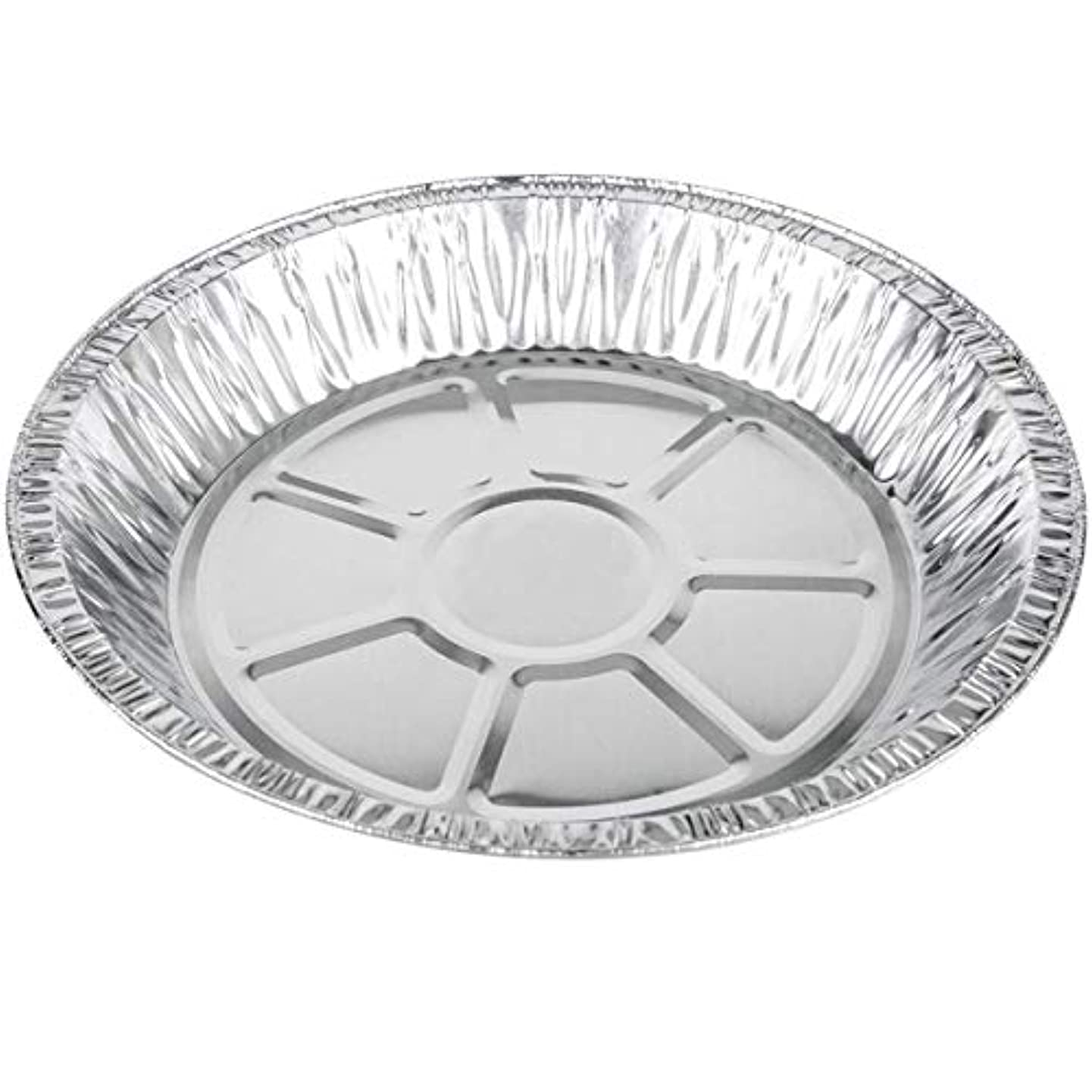 "MM Foodservice Round Aluminum Foil Pie Pan, Disposable Tart Pan, 25 Pack (9"" x 1 3/16"" Extra Deep)"