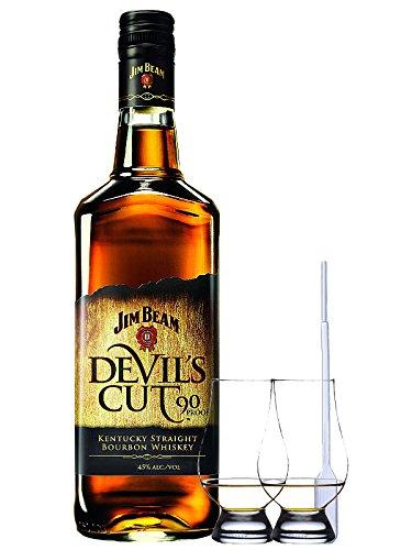 Jim Beam Devils Cut 1,0 Liter + 2 Glencairn Gläser + Einwegpipette 1 Stück