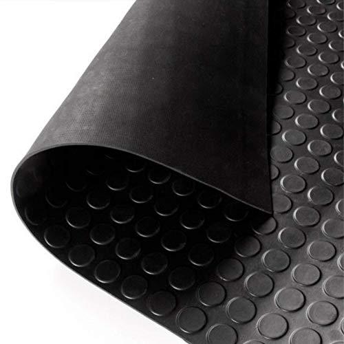 Alfombra de goma de 1,2 x 6 m, altura 120 cm, grosor 3 mm, goma antideslizante, alfombrillas de goma por metros, suelo de goma con burbujas negras fabricadas con la goma Foll Gum®