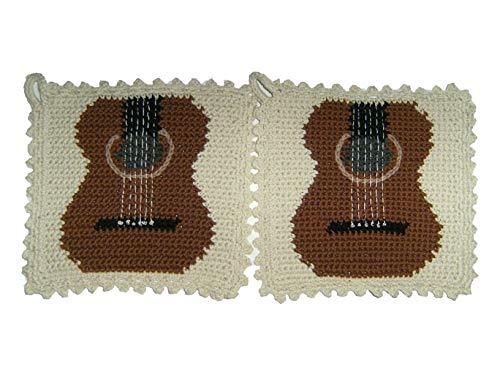 Storchenlädchen 1 Paar Topflappen Gitarre gehäkelt Handarbeit Musikinstrument Musik
