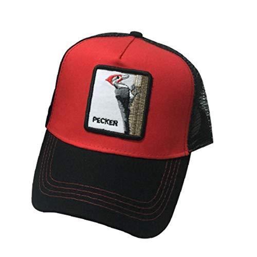 Hip Unisex Animales Carpintero Gorra De Beisbol Hop Cap De Malla Con Ajustable (rojo Con Negro)