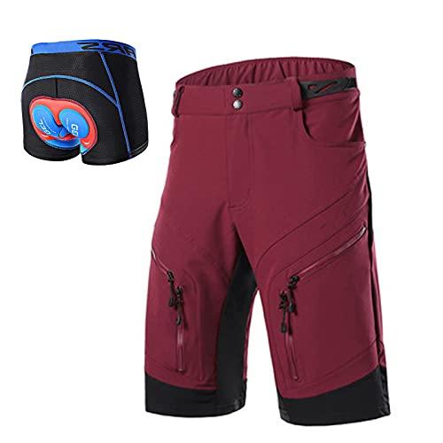 Pantalones Cortos de Ciclismo para Hombre Impermeables,Corto de Bicicleta MTB Pantalones Cortos al Aire Libre,Transpirables Sueltos Shorts de Ciclismo de Montaña con Bolsil(Size:XL,Color:Red1)