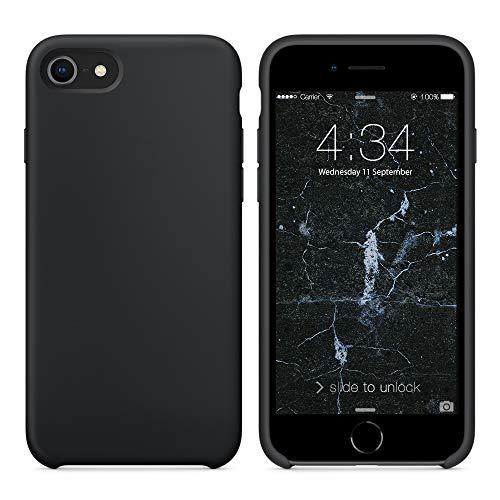 SURPHY Cover Compatibile con iPhone SE 2020 iPhone 8 iPhone 7, Custodia per iPhone SE 2020 8 7 Silicone Slim Cover Antiurto con Fodera in Microfibra Case per iPhone SE 2020 8 7 4.7 Pollici, Nero