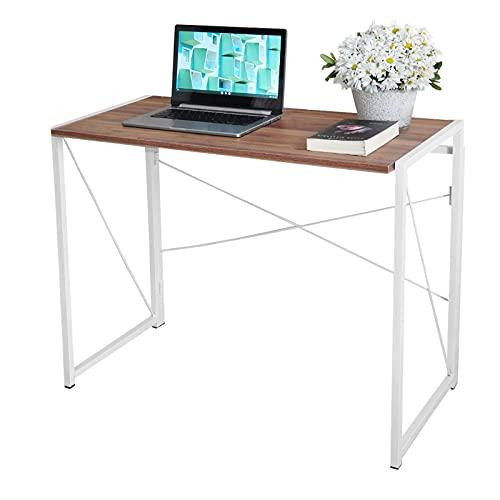 BLADO Mesa plegable para computadora – escritorio de oficina, mesa de madera, marco de acero, ordenador portátil, estación de trabajo, no montaje resistente (roble y blanco)