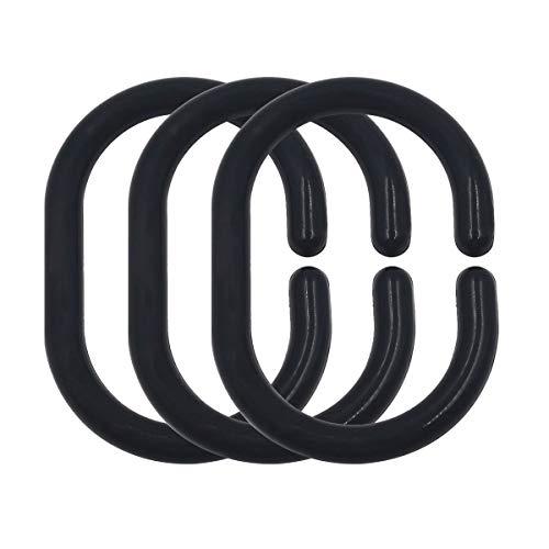 Top-Spring 24 paquetes de anillos de cortina de ducha de plástico para cortina de baño, gancho colgador, clip Glide para ventana de ducha de baño (negro)