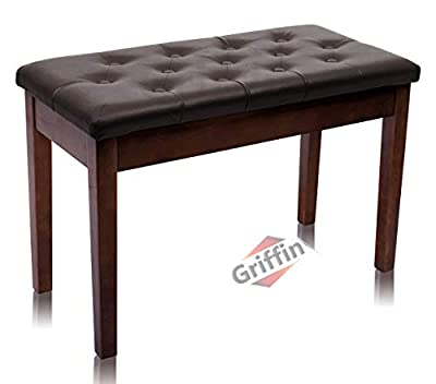 GRIFFIN Brown Wood PU Leather Piano Bench | Double Vintage Design, Ergonomic Chair Musicians Keyboard Stool | Cushion Duet Seat & Sheet Music Storage Space | for Guitar Stool or Home Vanity Bench