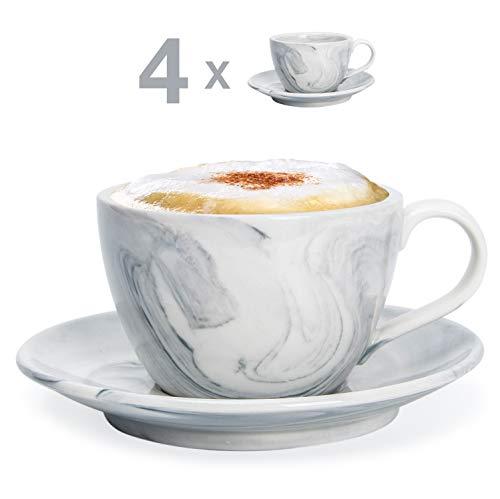 Hausmann & Söhne Cappuccino Tassen dickwandig   Set 8-TLG.   4er Set graue Marmor Tassen mit Untertasse   Porzellan   Tasse 170 ml (210 ml randvoll)   Cappuccinotassen mit Untersetzer   Geschenkidee