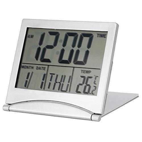 Garosa Digitaler Wecker Portable Folding Temperatur Kalender Snooze LED-Anzeige Uhr mit Lederhülle (einschließlich Batterie)